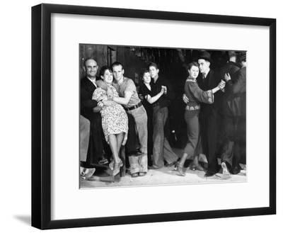 Construction Workers and Taxi Dancers Enjoying a Night Out in Barroom in Frontier Town-Margaret Bourke-White-Framed Premium Photographic Print