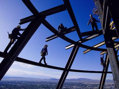 Construction Workers on Beams at the Top of the Statosphere Tower, Las Vegas, Nevada-Paul Chesley-Photographic Print