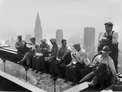 Construction Workers Take a Lunch Break on a Steel Beam Atop the RCA Building at Rockefeller Center--Photographic Print