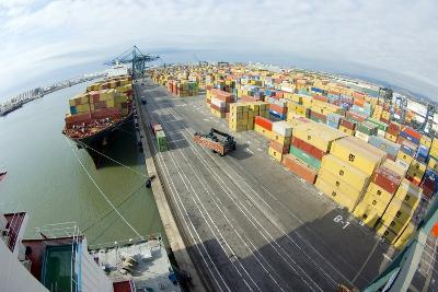 Container Ship And Port-Dr. Juerg Alean-Photographic Print