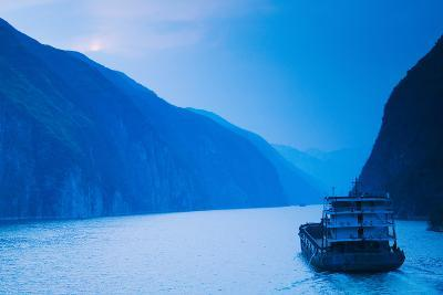 Container Ship in the River at Sunset, Wu Gorge, Yangtze River, Hubei Province, China--Photographic Print
