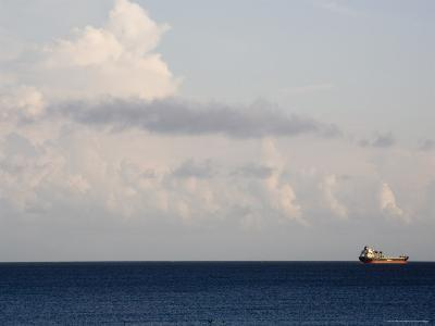 Container Ship Leaves Cape Fear River Mouth for Open Atlantic-David Evans-Photographic Print