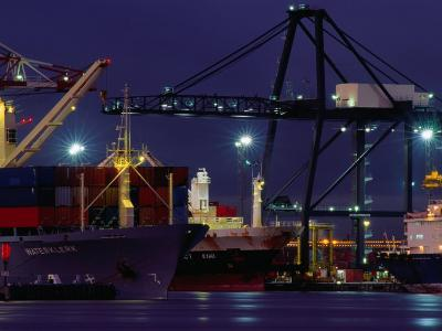 Container Ships, Melbourne Docks, Melbourne, Australia-Peter Hendrie-Photographic Print
