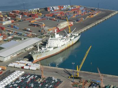 Container Terminal and Cargo Ship, Salerno, Campania, Italy, Mediterranean-Robert Francis-Photographic Print
