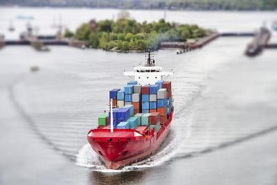 Container Vessel on Kiel Canal, Germany-Ralf Gosch-Photographic Print