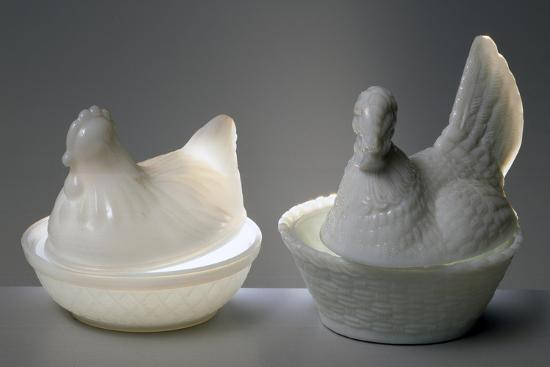 Containers in Shape of Chickens, 1860, Opaline Glass--Giclee Print