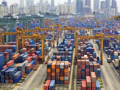 Containers Stacked Together at the Port of Singapore Authority-xPacifica-Photographic Print