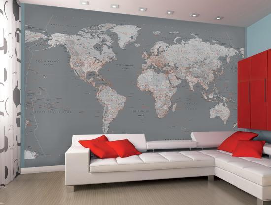 Contemporary Grey World Map Wallpaper Mural Wallpaper Mural By Artcom