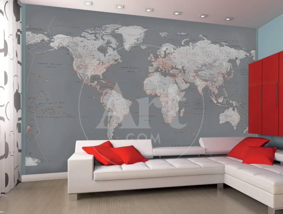 Contemporary Grey World Map Wallpaper Mural Wallpaper Mural by | Art.com