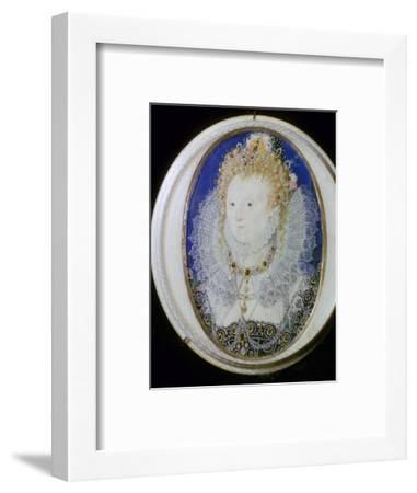 Contemporary miniature portrait of Elizabeth I of England. Artist: Nicholas Hilliard-Nicholas Hilliard-Framed Giclee Print