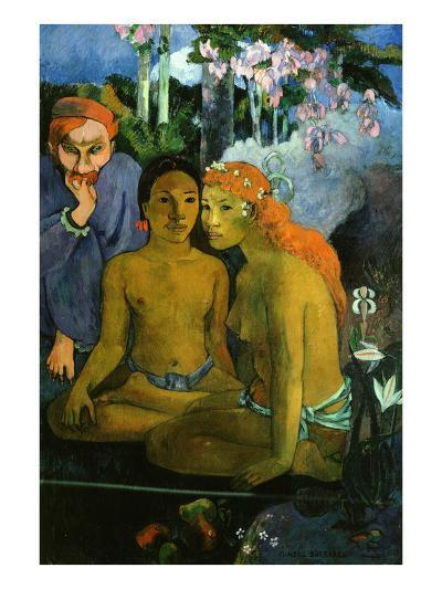 Contes Barbares, or Barbaric Tales, Dutch Artist Jacob Meyer De Haan and Two Polynesian Women, 1902-Paul Gauguin-Giclee Print