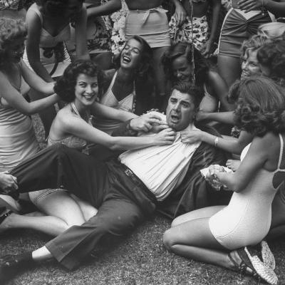 Contest Judge Ken Murray Being Wrestled to the Ground by Contestants in Beauty Pageant-Peter Stackpole-Photographic Print