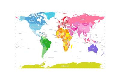 Continents World Map-Michael Tompsett-Art Print