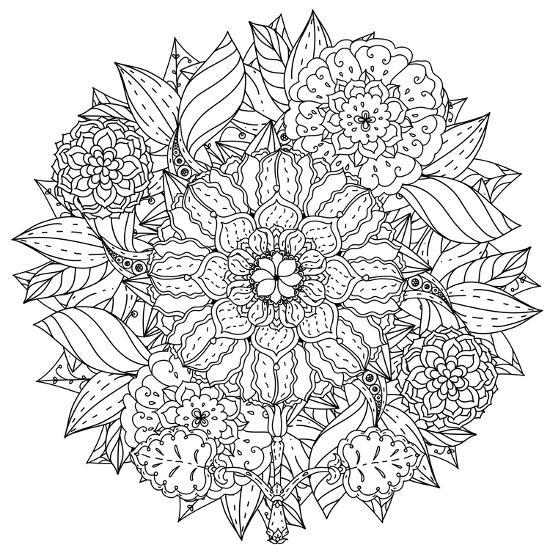 Contoured Mandala Shape Flowers for Adult Coloring Book in Zen Art ...