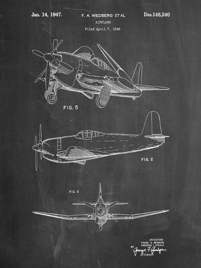 Contra Propeller Low Wing Airplane Patent-Cole Borders-Art Print