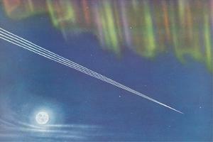 Contrails with Aurora Borealis