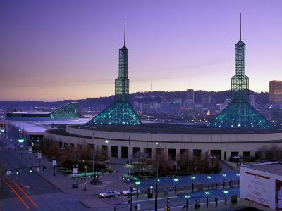 Convention Center at Sunset, Portland, Oregon, USA-Janis Miglavs-Photographic Print