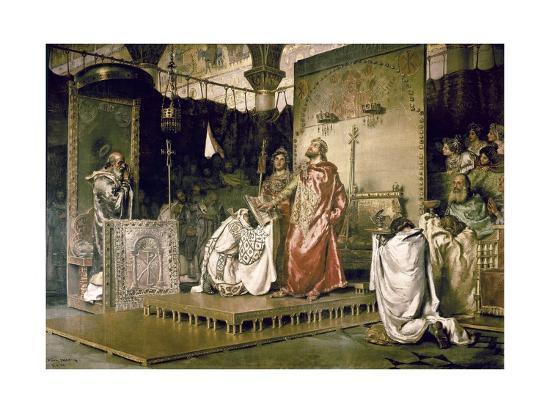 Conversion of Recared I, the Visigothic King of Hispania 587-Antonio Munoz Degrain-Art Print