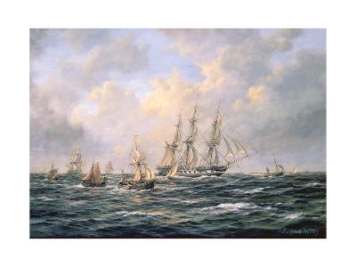 Convoy of East Indiamen Amid Fishing Boats-Richard Willis-Giclee Print