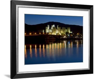 Conwy Castle and Town at Dusk, Conwy, Wales, United Kingdom, Europe-John Woodworth-Framed Photographic Print