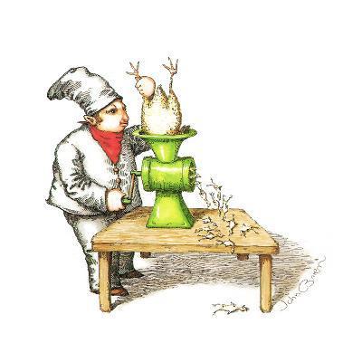 Cook grinding a chicken into smaller chickens. - Cartoon-John O'brien-Premium Giclee Print