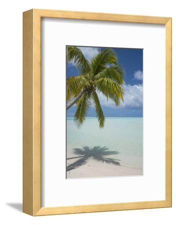 Cook Islands, Aitutaki. One Foot Island. White Sand Beach with Trees-Cindy Miller Hopkins-Framed Photographic Print