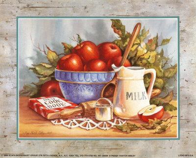 Cookbook and Apples-Peggy Thatch Sibley-Art Print