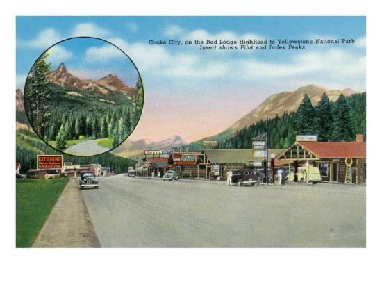 Cooke City, Montana, Red Lodge High Road to Yellowstone Park View of the Town-Lantern Press-Art Print