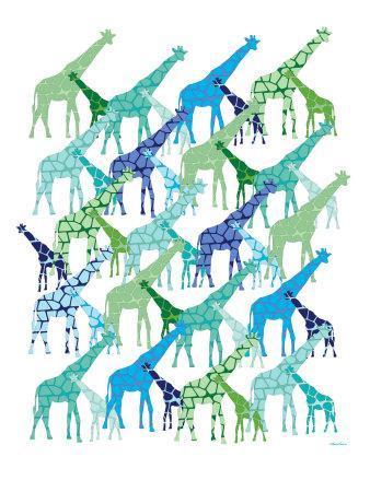 Cool Giraffe Pattern-Avalisa-Art Print