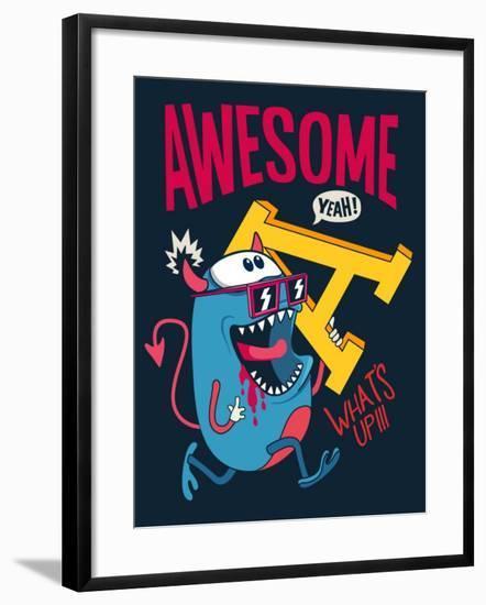 Cool Monster Vector Character Design- braingraph-Framed Art Print