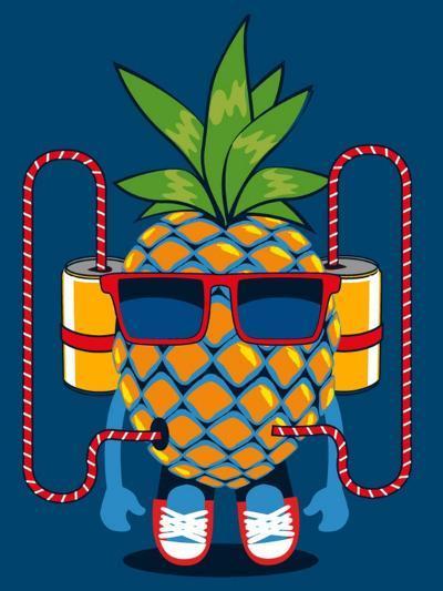 Cool Pineapple Character Vector Design- braingraph-Art Print