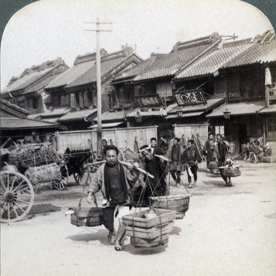 Coolies, Street Scene in Tokyo, 1896-Underwood & Underwood-Photographic Print