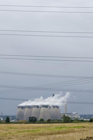 Cooling Towers and Overhead Power Lines in Rural Landscape