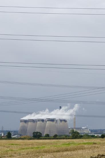 Cooling Towers and Overhead Power Lines in Rural Landscape--Photographic Print
