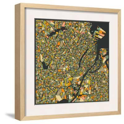 Copenhagen Map-Jazzberry Blue-Framed Art Print