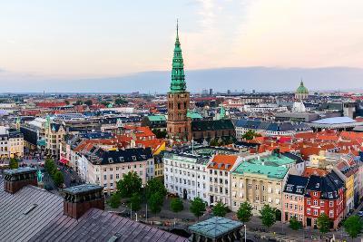 Copenhagen Skyline by Evening. Denmark Capital City Streets and Danish House Roofs. Copenhagen Old-aliaksei kruhlenia-Photographic Print