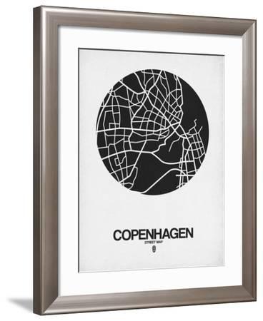 Copenhagen Street Map Black on White-NaxArt-Framed Art Print