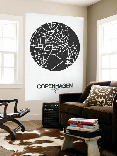 Copenhagen Street Map Black on White-NaxArt-Wall Mural
