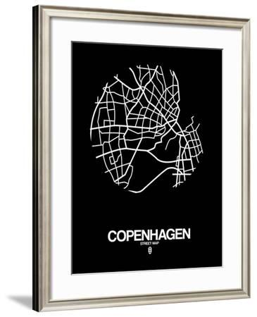 Copenhagen Street Map Black-NaxArt-Framed Art Print