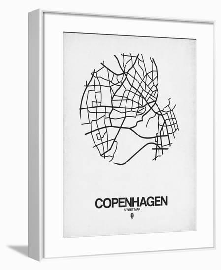 Copenhagen Street Map White-NaxArt-Framed Art Print