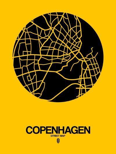 Copenhagen Street Map Yellow-NaxArt-Art Print