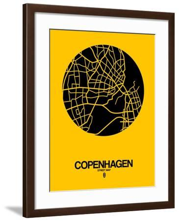Copenhagen Street Map Yellow-NaxArt-Framed Art Print