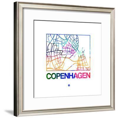 Copenhagen Watercolor Street Map-NaxArt-Framed Premium Giclee Print