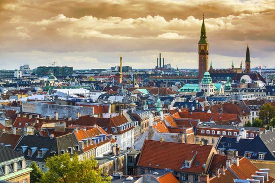 Copenhangen, Denmark Aerial View of the Skyline.-SeanPavonePhoto-Photographic Print