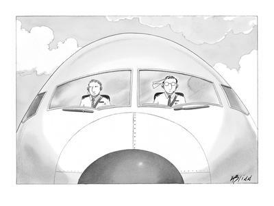Copilot smirks at paper airplane stuck in the hair of the pilot. - New Yorker Cartoon-Harry Bliss-Premium Giclee Print