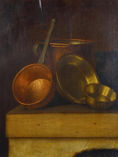Copper and Brass Pots and Pans on an Oven Top-Martin Dichtl-Giclee Print
