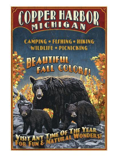 Copper Harbor, Michigan - Black Bears-Lantern Press-Art Print