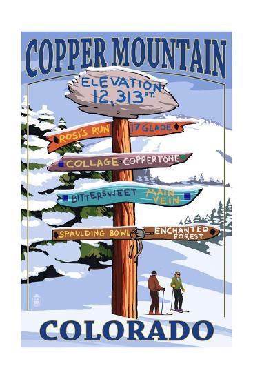 Copper Mountain, Colorado - Destination Signpost (Version 2)-Lantern Press-Art Print