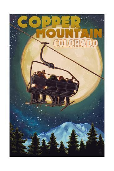 Copper Mountain, Colorado - Ski Lift and Full Moon-Lantern Press-Art Print