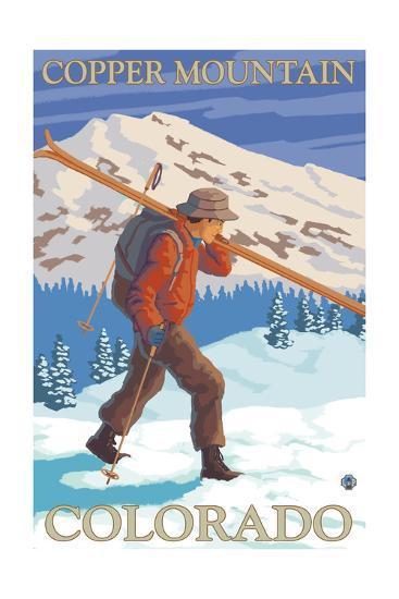 Copper Mountain, Colorado - Skier Carrying-Lantern Press-Art Print